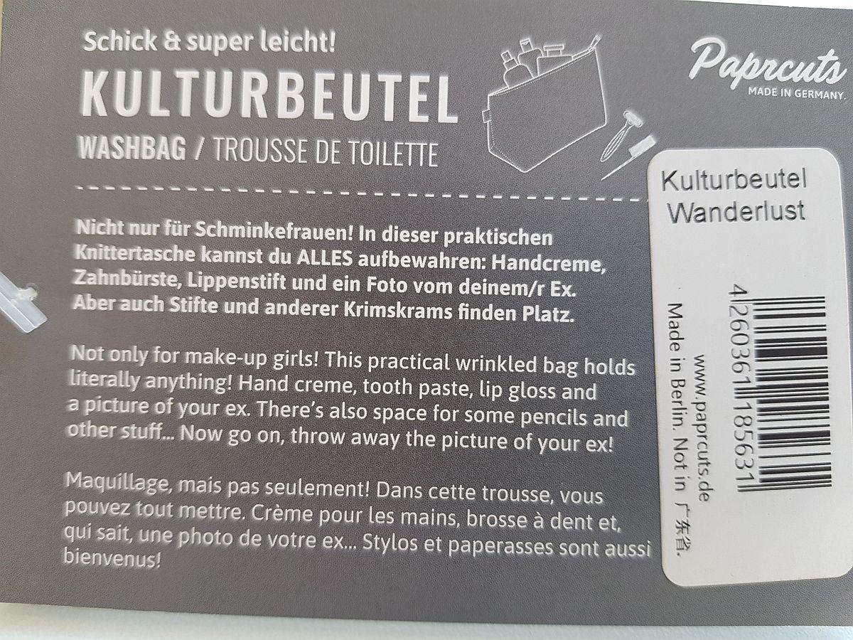 Paprcuts - Kulturbeutel Wanderlust